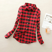 2017 Hot Sale Spring Fashion Women Flannel Plaid Shirt Plus Size Blouses Female Long Sleeve shirt Ladies Blusas Tops 20 Colors