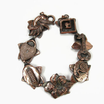Copper Bracelet Made In Germany Heart Padlock and Key, Vintage Bracelet, 8 Inch, Vintage Jewelry, Copper Jewelry