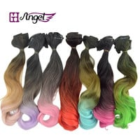 """Angel 20""""120g Ombre Clip in Hair Extensions 5pcs in 1 set Rainbow Color Synthetic Clip in Hair Piece"""