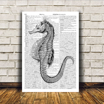 Nautical art Modern decor Dictionary print Seahorse poster RTA401