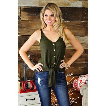 * All About Drama Button Down Tie Tank: Olive