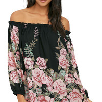 Blooming Bouquet Black Floral Print Off-the-Shoulder Dress