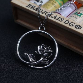 SG Movie Beauty And The Beast Necklace Antique Silver Plated Enchanted Rose Round Pendants Necklaces For Women Jewelry