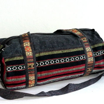 Hippie Duffle Bag for Men Women, Hipster Sport Gym bag, Canvas Weekender bag, Holdall, Tribal Duffel bag, Small Travel bag, Short trip, OOAK
