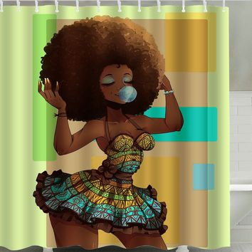 Afro Hair Pretty Girl Waterproof Shower Curtain