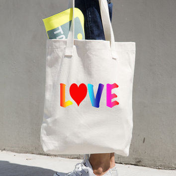 """Love"" Woven Cotten Print Tote Bag"