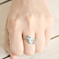 Silver Ghost Shape 2 Pack Rings