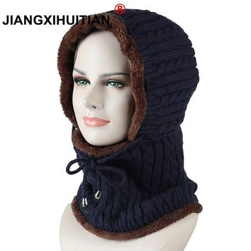 Winter wool Knitted Hat Beanie Men Scarf Skullies Beanies Winter Hats For Women Men Caps Gorras Bonnet Mask Brand Hats