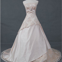 A-line /Princess Strapless Chapel Train Satin Lace Wedding Dresses With Sashes Beading Free Shipping