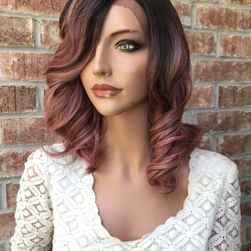 """Pink 12"""" Lace Front Wig n21"""