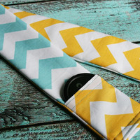 Reversible Camera Strap Cover with Lens Cap Pocket - Riley Blake Aqua and Yellow Chevron - Designer Fabric