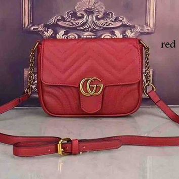 DCCKB62 GUCCI trend feminine chic elegant leather handbag F-LLBPFSH Red