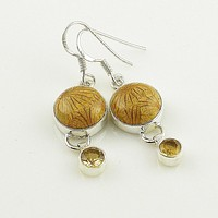Citrine & Fossilized Coral Sterling Silver Earrings