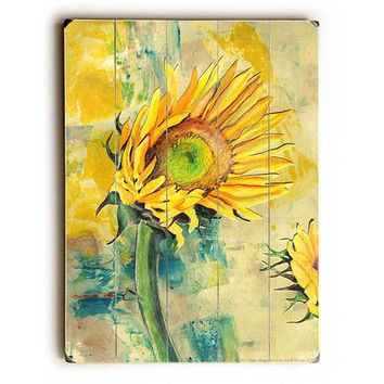 Sunflower by Artist Annie Flynn Wood Sign