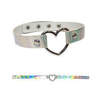 Holographic Silver Choker with Heart Ring Detail