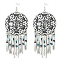 Kayshine Ethnic Jewelry Dream Catcher The Texture Of The Exotic Circular Hollow Tassel Earrings for Women Bohemia Earrings