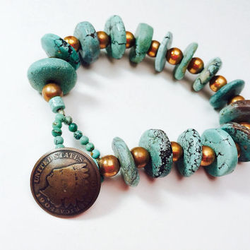Pottery beaded bracelet TURQUOISE DISKS