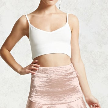 Satin Ruffle Mini Skirt