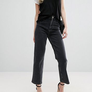ASOS High Waist Straight Leg Jeans In Washed Black at asos.com