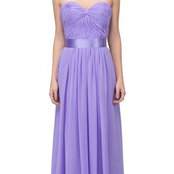Destination Beach Bridesmaid Dress Lilac Long Chiffon Strapless