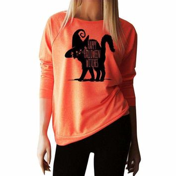 Happy Halloween Blouse Witches Cat Women Long Sleeve Tops Blouse Shirt Vetement Femme  Blusa Manga Comprida
