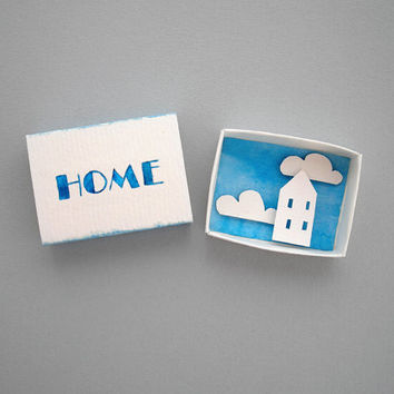 Home matchbox art, paper diorama, miniature art, paper art, white and blue, paper house, housewarming gift, first home gift