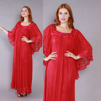Vintage 70s GAUZE DRESS / 1970s Semi Sheer Magenta Pink Cotton Angel Sleeve Crochet Trim Maxi Caftan