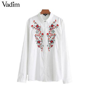 women sweet floral embroidery white shirt cute long sleeve turn down collar blouse female fashion tops