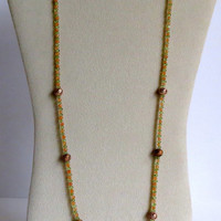 Peridot Necklace with Citrion and  Oxidized Copper Beads, Statteam