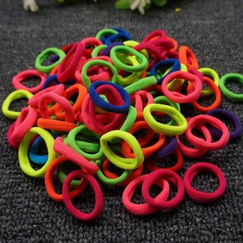 100 Pcs Colorful Child Kids Hair Holders Cute Rubber Hair Band Elastic Accessories