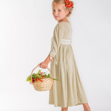 Girls dress, flower girls dress, baptism dress  made of organic cotton, Vintage Wedding, festive dress