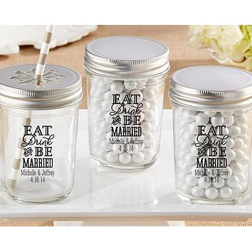 Personalized Printed Glass Mason Jar - Eat, Drink & Be Married (Set of 12)