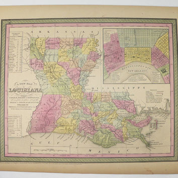1852 Mitchell Louisiana Map New Orleans Gulf Coast Map, Louisiana Wedding Gift for Couple, Antique Art Map, Unique Office Gift for Coworker
