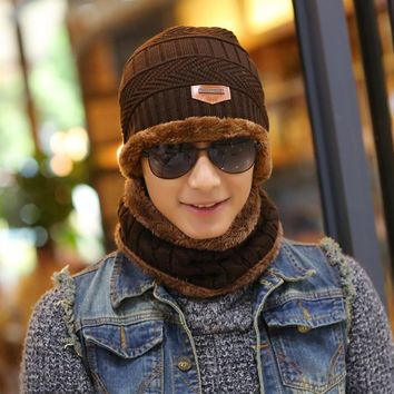 Beanies Knit Men's Winter Hat Caps Skullies Bonnet Winter Hats For Men Beanie Warm Baggy Knitted Hat and Scarf