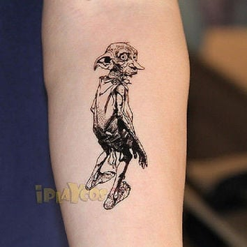 Dobby of Harry Potter Temporary Tattoo, Dobby Elf Tattoo,