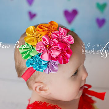 Baby Headband-Rainbow Girl Hair Accessory-Preemie-Newborn-Infant-Child-Toddler-Colorful-Pretty-Birthday Cake Smash-Rainbow Brite Inspired