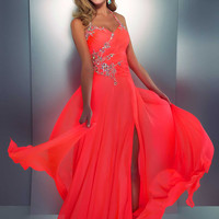 Abendkleider Online — A-line Halter Chiffon Floor-length Beading Prom Dress at Msdressy