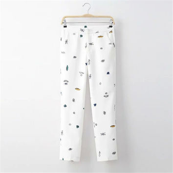 Summer Women's Fashion Cartoons Print Pants Cropped Pants [4920280260]