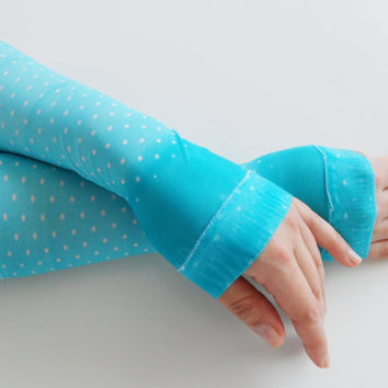 Fingerles gloves, Holiday gifts - Turquaz fingerless gloves, Spring trends, flowers, branches, patterned arm warmers - stempunk, Victorian,