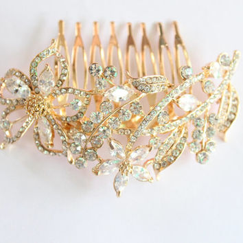 Gold Bridal Comb/Wedding Floral Hair Comb/Wedding Rhinestones Crystal Comb Clip/Bride Hairpiece/Bridesmaid Hair Comb Jewelry/Leaf Hair Comb