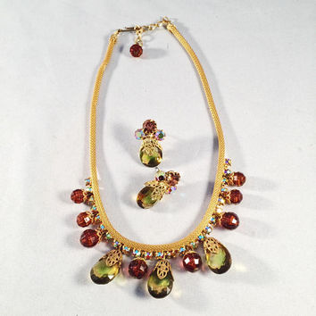 Vintage Jewelry Set, Necklace And Earrings, Tear Drop Glass Stones, Rust, Gold, Rhinestones, (earrings have been converted to pierced-post)