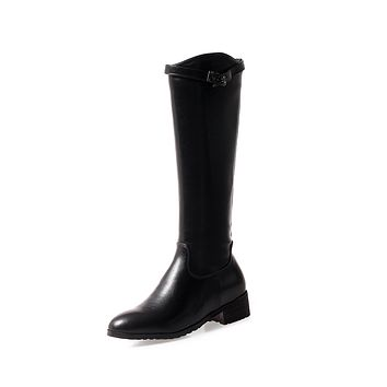 Faux Leather Tall Boots Winter Shoes for Woman 1075