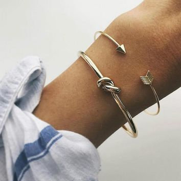 Arrow and Knot 2 Piece Adjustable Bangle Set