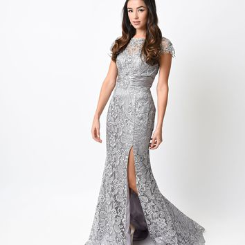 Platinum Lace & Satin Cap Sleeve Gown 2015 Prom Dresses