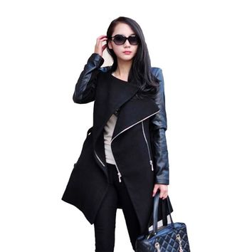 Autumn Winter Style Women Fashion Coat Long Sleeve PU Leather Patchwork Wool Overcoat Casual Zipper Jacket Coat WDC250