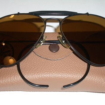 1960's 58[]14MM VINTAGE B&L RAY BAN BLK B15 OUTDOORSMAN AVIATOR SUNGLASSES MINT