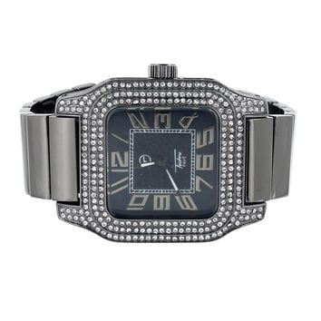 Grey Watch Stretch Band Square Face Iced Out