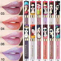 New Makeup Matte lipstick Metal Liquid Lipstick Shimmer Red Lips Lip Gloss Batom Maquiagem lady gift
