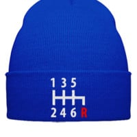 gear shift embroidery - Beanie Cuffed Knit Cap