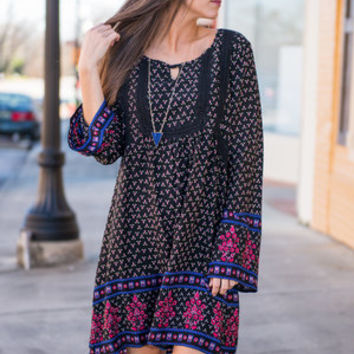 Bell Of The Boho Dress, Black